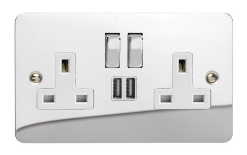 Varilight XFC5U2SDW Ultraflat Polished Chrome 2 Gang Double 13A Switched Plug Socket 2.1A USB